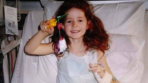Jemima Leydon aged five in hospital in Adelaide where she was treated for ovarian cancer.