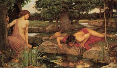 Echo, Narcissus, greek mythology, John William Waterhouse