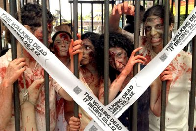 In case you were wondering: yes, the zombies were allowed out of the cage for bathroom breaks.