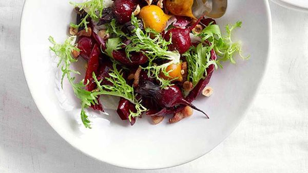 Roasted beetroot with pancetta, hazelnuts and Roquefort. Image: Gourmet Traveller