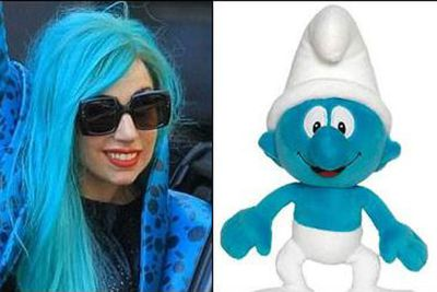 Well, what do you expect when you wear a blue wig? Really. <p><b>Image</b>: totallylookslike.com
