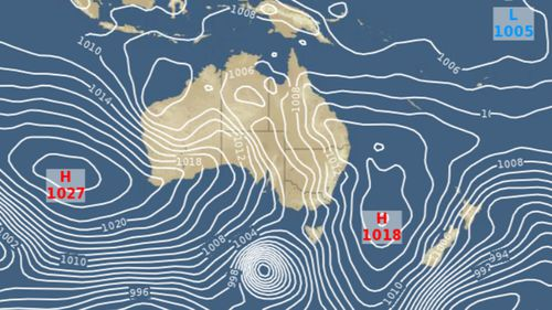 Australia forecast map Saturday at 3:29AM