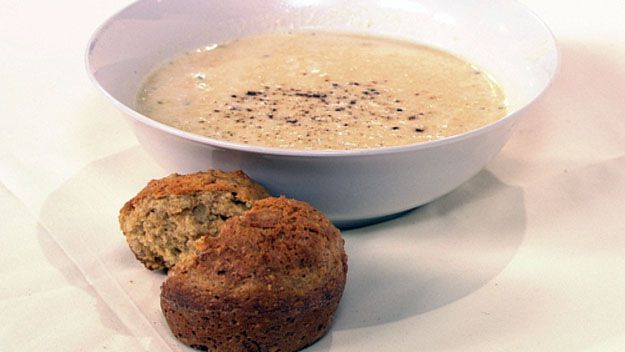 Curried parsnip soup with soda bread