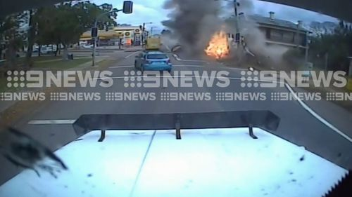 The dashcam shows the moment the truck crashed and erupted into a fireball. Picture: 9NEWS