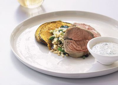 "Recipe: <a href=""http://kitchen.nine.com.au/2016/05/19/19/30/roast-lamb-loin-with-couscous-and-pumpkin"" target=""_top"">Roast lamb loin with couscous and pumpkin</a>"