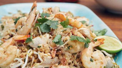 "Recipe:&nbsp;<a href=""http://kitchen.nine.com.au/2016/11/09/15/03/jesinta-campbells-pad-thai-with-kelp-noodles"" target=""_top"" draggable=""false"">Jesinta Campbell's pad Thai with kelp noodles<br> </a>"