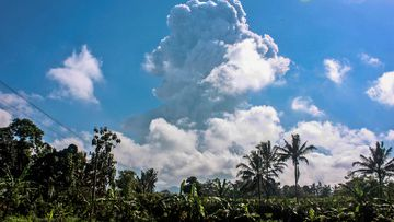 A plume of hot ash can be seen extending six kilometres into the air after an eruption at Mount Merapi.
