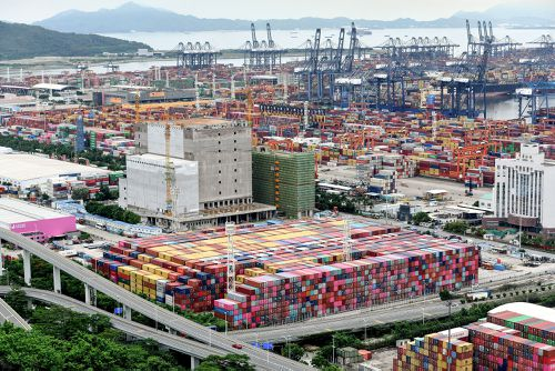 Cargo containers stack up at Yantian port in China.