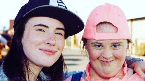 Genevieve Clay-Smith and actress Jamie Brewer on the set of Kill Off. (Instagram)