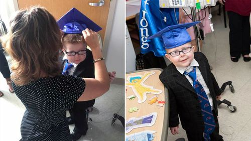 Teachers hold special hospital ceremony for young boy who missed graduation due to surgery