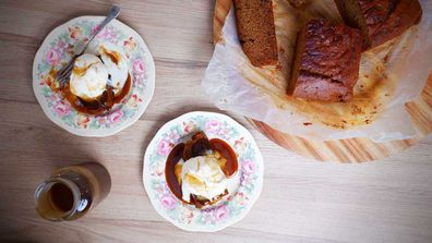 Classic sticky date pudding with very necessary hot butterscotch sauce