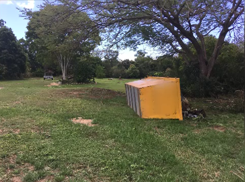 The skip bin tipped over prior to the dumping, sparking an argument.