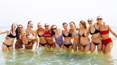 Swift posted a photo of her girl squad at the beach behind her home early on in the celebrations. (Instagram: @taylorswift)
