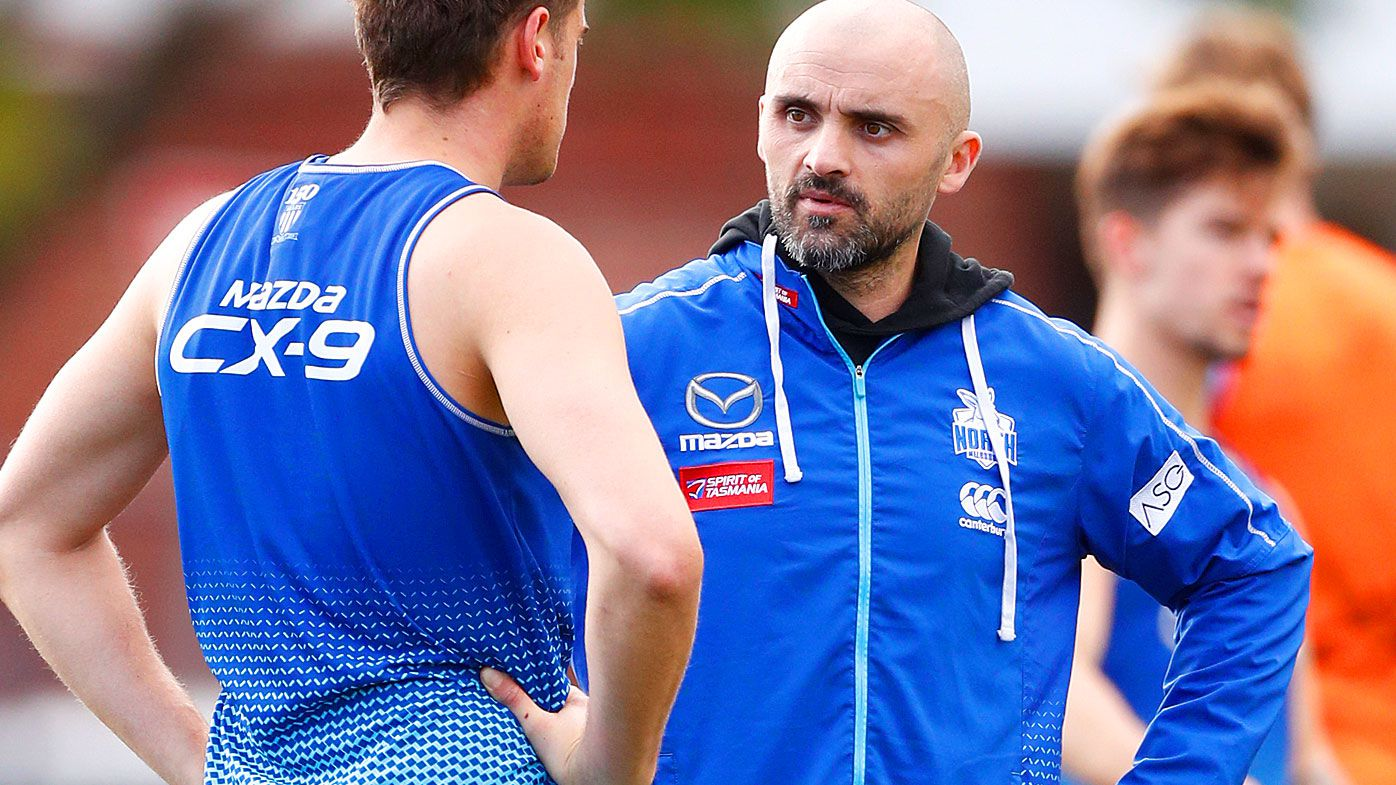 Kangaroos interim coach Rhys Shaw  is seen during a North Melbourne training session