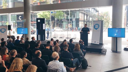Alex Gruszka at the official launch of the Talent Snapshot today at the University of Technology Sydney.