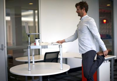 ZestDesk standing quad stretch