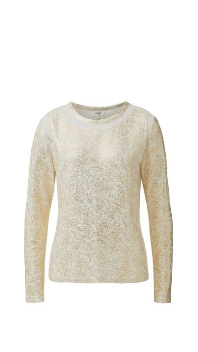 "<p>Muted metallics work well for evening without being OTT.</p><a href=""http://www.seedheritage.com/shimmer-splice-ls-tee/w1/i13034158/"" target=""_blank"">Top, $89.95, Seed</a>"