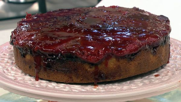 Plum and cinnamon upsidedown cake