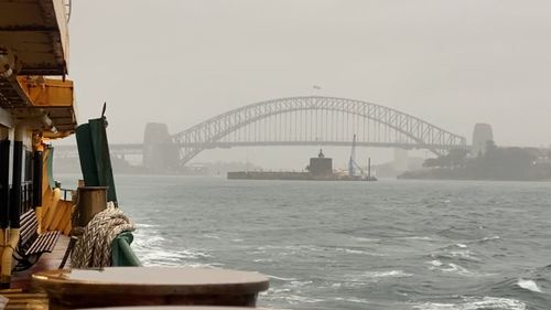 Rough weather on a ferry in Sydney Harbour.