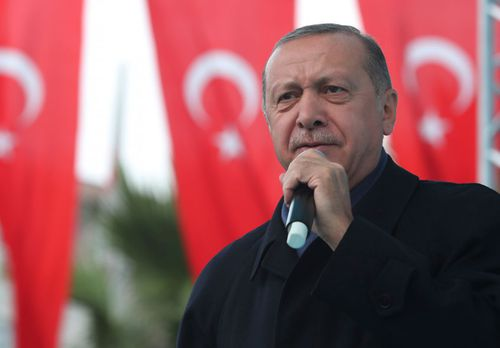 Turkish President Recep Tayyip Erdogan, delivers a speech at supporters in Istanbul. Erdogan says he will announce details of the Turkish investigation into the death of Saudi writer Jamal Khashoggi's on Tuesday.