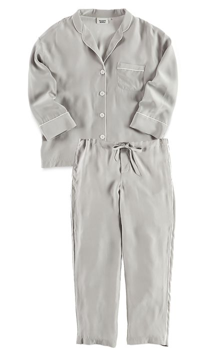 "<p><a href=""http://www.barneys.com/sleepy-jones-marina-pajama-shirt-503891973.html"">Marina Pajama Shirt, approx. $376</a>, and <a href=""http://www.barneys.com/sleepy-jones-marina-pajama-pants-503891996.html"">Marina Pajama Pant, approx. $331</a>, Sleepy Jones</p>"