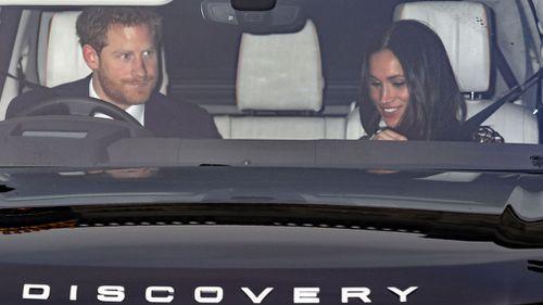 Prince Harry and Meghan Markle leave Kensington Palace. (Philip Toscano/PA via AP)