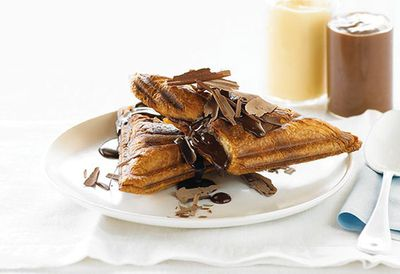 "Recipe: <a href=""http://kitchen.nine.com.au/2016/05/05/09/57/hot-chocolate-and-custard-croissant-jaffles"" target=""_top"">Hot chocolate and custard croissant jaffles</a>"