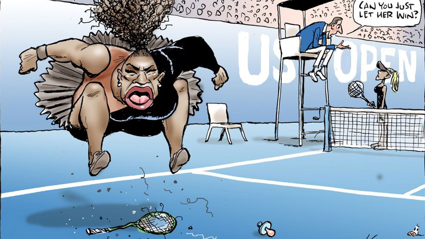 Australian cartoonist accused of 'racist and sexist' Serena Williams image deactivates social media after worldwide criticism