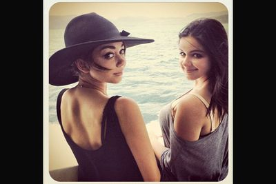@therealsarahhyland: Luckiest girls in the world. Yacht to work. @arielwinter will forever be my little sister <3