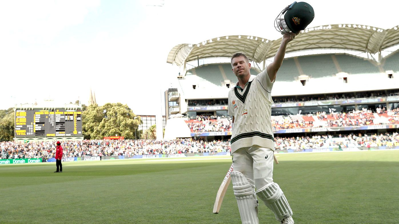 David Warner of Australia acknowledges the crowd as he leaves the field on 335 not out during day two of the 2nd Domain Test between Australia and Pakistan at the Adelaide Oval on November 30, 2019 in Adelaide, Australia.