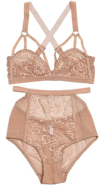 "<a href=""http://lonelylabel.com/collections/lonely/products/sabelcutoutbranude"" target=""_blank"">Sabel Cut Out Bra, $99</a>, and <a href=""http://lonelylabel.com/collections/lonely/products/sabelhighwaistedbriefnude"" target=""_blank"">Sabel High Waisted Brief, $70</a>, Lonely<br>"