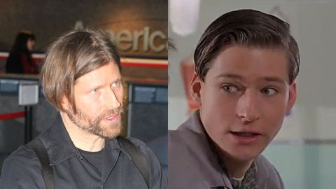 Crispin at LAX / Playing George McFly in Back to the Future. Images: Splash News / Universal Pictures
