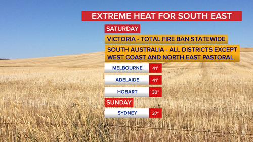 The south-east of the country is in for a sizzling hot Saturday. (9NEWS)