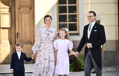 Sweden's Crown Princess Victoria, centre left with Prince Oscar, left, Princess Estelle and Prince Daniel, pose for a photo after the christening ceremony of Prince Julian at the Drottningholm Palace Chapel, in Stockholm, Sweden, Saturday, Aug. 14, 2021.