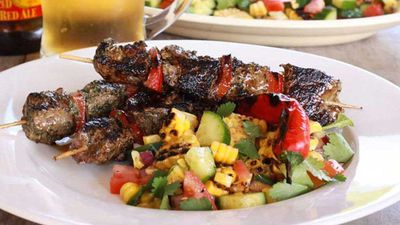 Chimichurri beef skewers with chargrilled corn salsa
