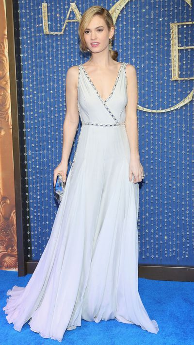 James accessorised her soft blue Prada gown with an Anya Hindmarch clutch