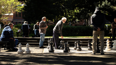 Men are seen playing chess in Hyde Park in the CBD on September 10, 2020 in Sydney, Australia. (Photo by Jenny Evans/Getty Images)