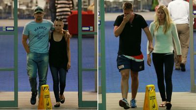 Shane Watson and wife Lee Furlong leave St Vincent's Hospital (left) while a South Australian cricketer was visibly upset (right). (AAP)