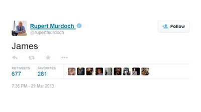 <p>The time Murdoch discovered he could not summon the offspring of his choice simply by typing their name into Twitter.</p>