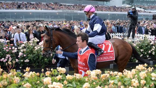 It is Brown's second Melbourne Cup win. (AAP)