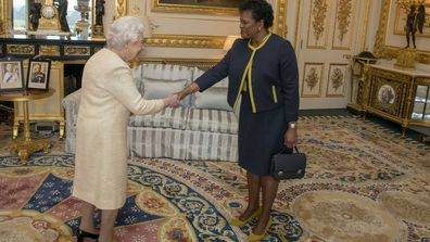 The Queen receives Governor-General of Barbados Sandra Mason during a private audience at Buckingham Palace in 2018