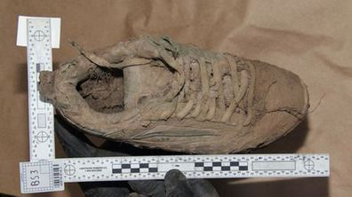 A muddy shoe, believed to be that of Daniel Morcombe, found at Glasshouse Mountains. (Supplied)