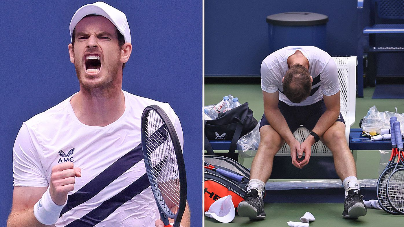Andy Murray of Great Britain reacts during his Men's Singles first round match