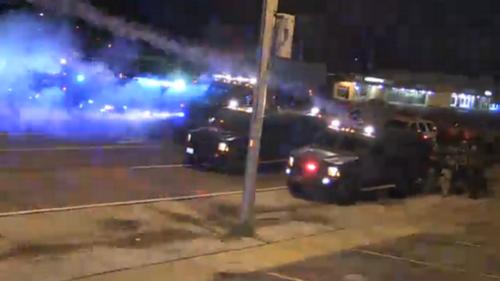 Police vehicles in Ferguson.