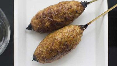 "Recipe:<a href=""http://kitchen.nine.com.au/2016/09/29/07/38/yardbirds-chicken-meatball-yakitori-with-tare-sauce"" target=""_top"">Yardbird's chicken meatball yakitori with tare sauce</a>"