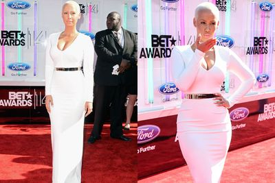 Amber Rose covers up her curves in this snowy white gown.