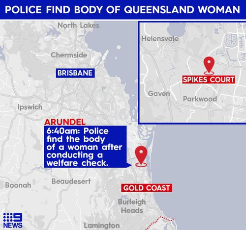 A woman was found in the backyard of a home in Arundel on the Gold Coast.