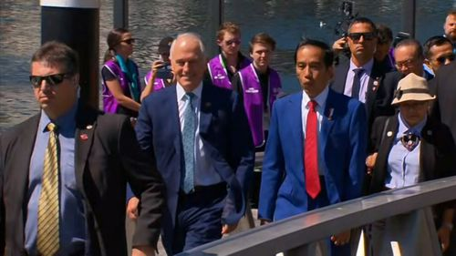Malcolm Turnbull played host to ASEAN leaders as they toured Sydney Harbour today. (9NEWS)