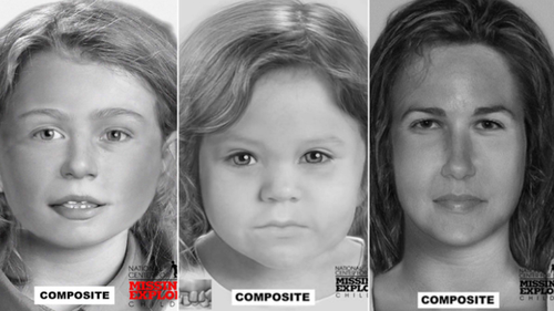 Artist renderings of three of the four victims