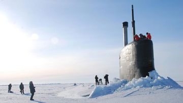 This 2016 photo provided by the U.S. Navy, shows a submarine after breaking through ice in the Beaufort Sea off Alaska's north coast. (AAP)